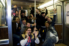 Impromptu Victory Party for Obama on the A-Train