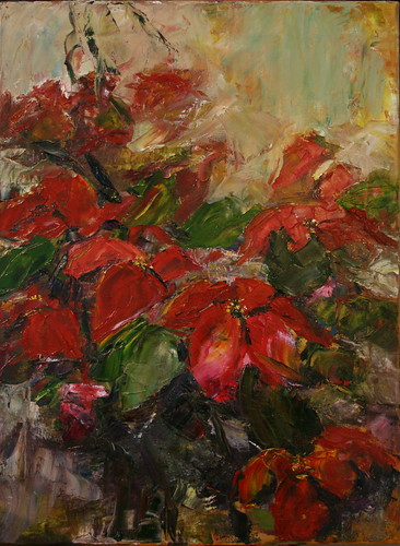 christmas abstract art painting paul utah flickr poinsettia knife duke canvas oil picturesque ogden oilpainting colourartaward sharingart