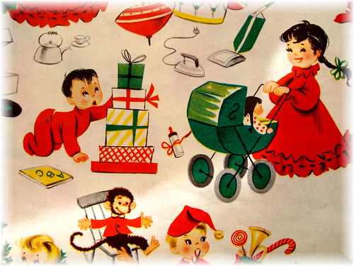 vintage christmas children images. Vintage Children's Christmas Wrapping Paper - a photo on Flickriver
