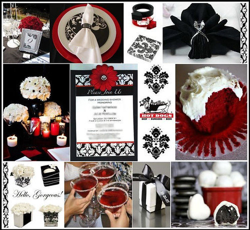 Here are some ideas for a black & white wedding, with accent of red.