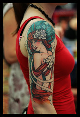 Masterpiece (calexico7) Tags: ireland red dublin woman classic girl tattooconvention artnouveau masterpiece d4 alphonsemucha calexico7 jeffgogue dublintattooexhibition