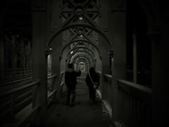 Topsy and Elly crossing the Tyne (Leo Reynolds) Tags: photoshop iso100 f30 finepix fujifilm duotone 8mm f28 025sec 1ev hpexif leol30random groupsepiabw xleol30x xratio4x3x xxx2008xxx