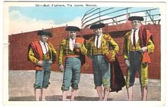 Tijuana Bullfighters (califboy101) Tags: vintage mexico postcard tijuana 1942 bullfight