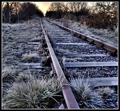 Linton Tracks (Michael Brewis (Northumbrian Blue)) Tags: lighting morning light england sky cold abandoned sunrise landscape geotagged dawn frost track north rail railway olympus northumberland northumbria hdr linton e510 northumberlandlandscapesgeotagged