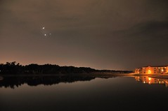 Triple Conjunction: Moon, Venus, Jupiter (cosmosjon) Tags: moon lake reflection water night dark nikon venus planets astronomy jupiter astrophoto d300 conjunction nikkor80200vr tripleconjunction jonathansabin
