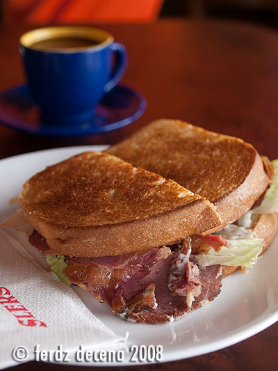 SLERS Beef Pastrami Sandwich and Tsokolate