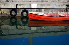 Red boat (Marite2007) Tags: blue red france color colour water reflections boats outdoors intense marine day mood natural image vibrant awesome vivid tranquility atmosphere reflected wharf mooring environment leisure mirrorimage picturesque reflexions buoys calmness moored mirrorred evocative redboats anawesomeshot