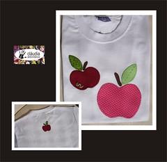 Bichinho na ma. (Claudia Abbondanza) Tags: frutas colors fruits cores quilt handmade artesanato balo craft infantil camiseta ma camisetas tecido bordado aplicao botes aplicaes customizao