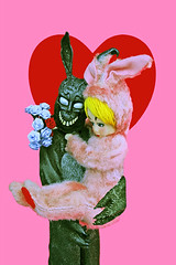 Franky Panky (boopsie.daisy) Tags: pink flowers red holiday cute bunny love vintage pose frank funny couple doll day heart valentine romance creepy donnie valentines darko