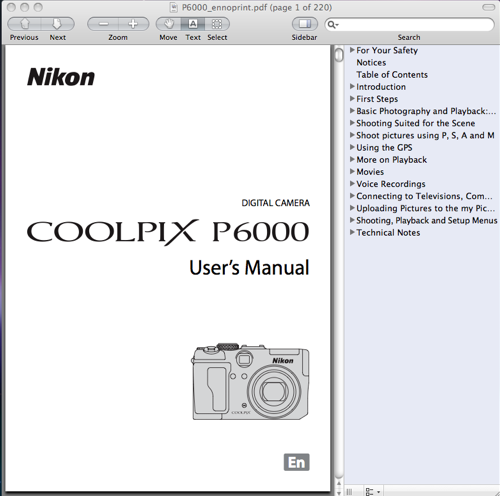 Nikon Coolpix P6000 User's Manual