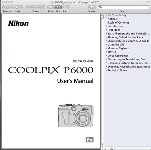 Nikon Coolpix P6000 User's Manual