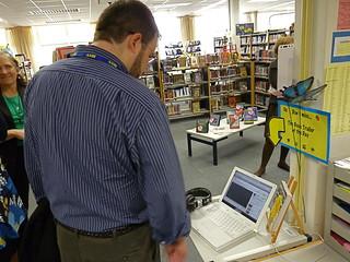 Jordan Sonnenblick checks out the MS Library's...