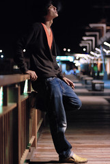 Here Without You - Part 4 (Firdaus Mahadi) Tags: light people man night prime lights lowlight neon dof bokeh cigarette