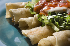 "Vegan ""Chicken"" and Corn Taquitos"