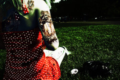 The Green Park Zombie (Dictator of England) Tags: park red green rotting girl grass blood dress zombie evil creepy gore greenpark undead decompose zombiegirl
