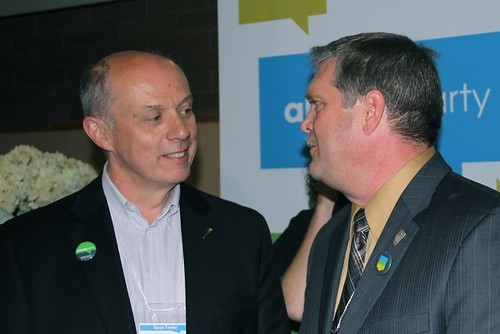 Alberta Party MLA Dave Taylor and newly elected Alberta Party leader Glenn Taylor at the May 28, 2011 Alberta Party leadership convention at Edmonton's Shaw Conference Centre.