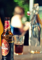 Al fresco (oneworldmj) Tags: red summer beer glass outside outdoors bottle italian warm eating drinks dining alfresco imported birramorettilarossa