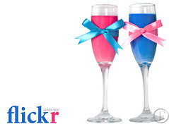 flickr loves us :) (Farawla^Foshya) Tags: pink blue color water photoshop glasses flickr drink drinks ribbon hydrangea flickrland catchycolorsflickrish fl0409