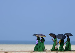 Group Of Young Women In Green Sari Holding Umbrellas Walking Down Alleppey Beach, India (Eric Lafforgue) Tags: blue sky sun india colour beach bag democracy sand day profile bluesky indie copyspace umbrellas indi enjoying indien hind indi inde southindia hodu alleppey parapluie southasia indland  hindistan alappuzha indija   0725 ndia hindustan   lafforgue   ericlafforgue hindia  bhrat  alleyppey indhiya bhratavarsha bhratadesha bharatadeshamu bhrrowtbaurshow  hndkastan       colorfulcloth fiveadults