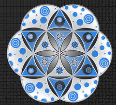 FOL  -   人生の花 (Camille Hart) Tags: blue white black flower art love true mexico friend pattern power symbol magic dream happiness dot monada hinton magia mexicanart mysticism monad floweroflife monism monismo hintonjennie 人生の花 素敵なビジョン