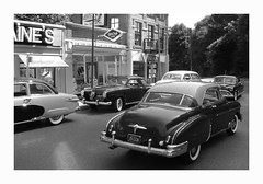 East Main Street-1951-Black and White (Michael Paul Smith) Tags: auto road street old red brick art classic ford chevrolet scale car vintage paul marquee photography miniatures michael miniature buick rainbow model automobile die mood time theatre mercury antique space telephone country models style pickup tire smith scene billboard nostalgia chevy chrome cast wires 1950s figure borden lincoln hudson aged studebaker grille elgin dairy ok maker deco staged gibson curb period whimsical whitewall patina oldsmobile tailfin dioramas caddilac caddie diecastcars