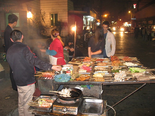 Typical street food stand in Chengdu