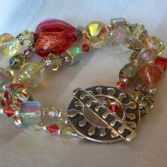 Montego Bay, Venetian glass, vintage and contemporary crystal bracelet (Hot Rocks) Tags: pink red orange hot glass yellow tangerine fun beads colorful heart crystal jewelry fuschia watermelon pineapple bracelet venetian wrist jewels chunky dichroic hotrocks vintagebeads ttropical