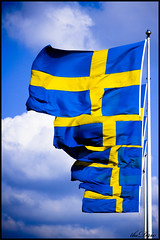 Sweden (thedrio) Tags: trip blue yellow clouds nuvole wind blu flags giallo sverige viaggio sweeden vento bandiere svezia thedrio