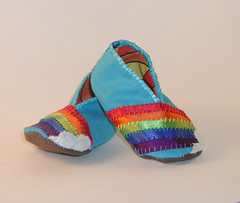Rainbow Baby Bootie 3 (Crafty Intentions) Tags: baby rainbow embroidery sew felt booties babybootie satinribbon handstitch handsew microsuede machinestitch