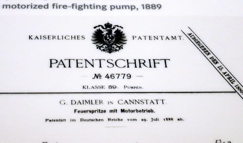 Feuerspritze mit Motorbetrieb 1889: Patentschrift # No 46779 Gottlieb Daimler on Cannstatt