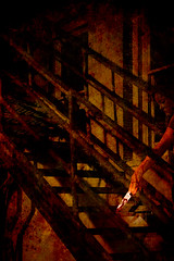 Baby Did a Bad, Bad Thing (lesprit_descalier) Tags: woman texture stairs photoshop dark blood shadows emotion dream surreal crime horror fireescape murder violence nightmare macabre wrath breakup violent darkart jealousrage aplusphoto babydidabadbadthing stealingshadows jediphotographer altrafotografia