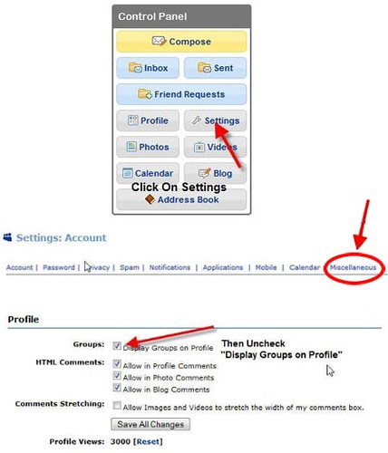 How to hide groups in MySpace from Friends - communities followers