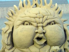 Angry Sun sand sculpture