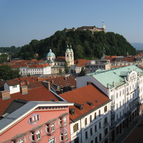 Ljubljana castle seen from downtown