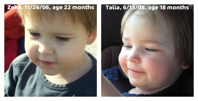 Mosaic: Zeke (age 22 months) and Talia (age 18 months), version 2