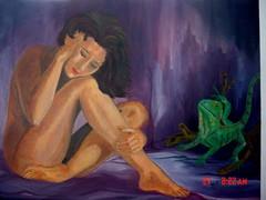 Arte - thinking (zzzoraya2007) Tags: woman art mujer arte skin iguana pensamiento oleo piel lienzo humanfigure iguanaverde figurahumana