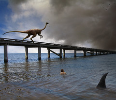 Predators (Mattijn) Tags: blue sea danger cat pier dinosaur photomontage fin crows predators dierenparkamersfoort ornithominus