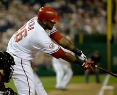 Wearing Teddy's Number 26, Wily Mo Pena grounds into a double play.  Flickr photo by MissChatter.
