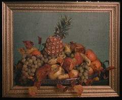 Still life study, bowl of fruit behind gold frame (George Eastman House) Tags: stilllife leaves fruit gold frame georgeeastmanhouse williamsimon photo:process=colorplatescreenautochromeprocess color:rgb_avg=5c4736 drwsimon drwilliamsimon geh:accession=198300630009
