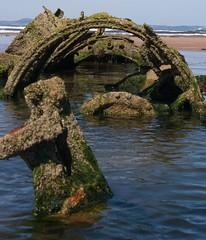 Midget submarine close up (Sandy Beach Cat) Tags: uk sea sky history beach scotland boat sand war pentax submarine shipwreck ww2 wreck archeology worldwar2 lothian aberlady xcraft tirpitz k10d
