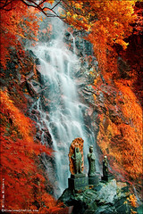 in color infrared (AluminumStudios) Tags: color statue japan ir waterfall buddhist infrared  kiyomizu kyushu  2543525436 eirsih