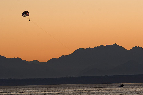Parasailing in the shadow of the Olympic Mountains