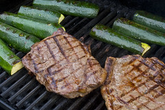 grilled steaks and zucchini
