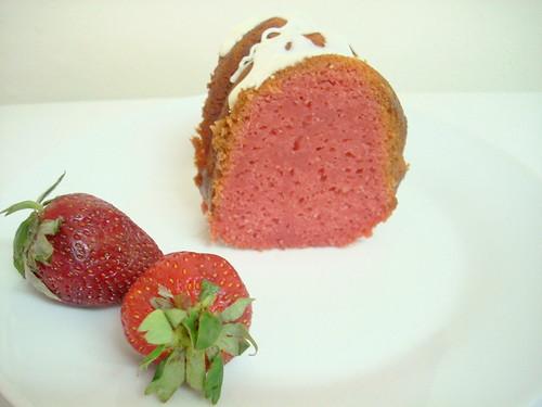 tajada de keke de fresa