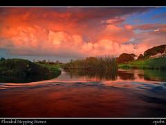 Flooded stepping stones (opobs) Tags: sky sun water southwales wales clouds river mud muddy bcc wfc ogmore valeofglamorgan bridgend wetknees ogmorecastle riverewenny welshflickrcymru opobs bridgenddistrictcameraclub michaeljstokesawpf ogmorehamlet