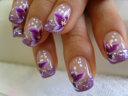 nail art gallery, purple flowers nails, nail art designs, nail polish gallery, Purple flowers design with glitter french from nail polish pics and nail art gallery, nail art designs gallery