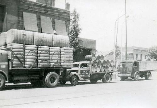Filera de camions de l'empresa TRANSPORTS HOMS de Barcelona