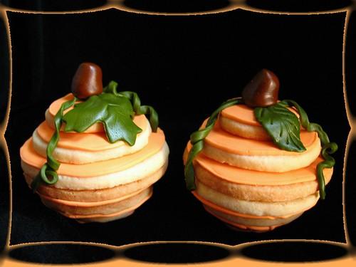 stacked pumpkin cookies