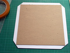 Cutting the corners of the patterned paper