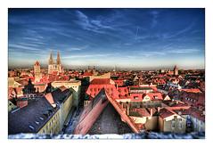 Germany Regensburg Dom (bikemoments.com) Tags: city blue roof sky germany town cool nikon dom dramatic surreal himmel blau regensburg altstadt dach hdr phantastic d300 dcher dramatisch tokina111628